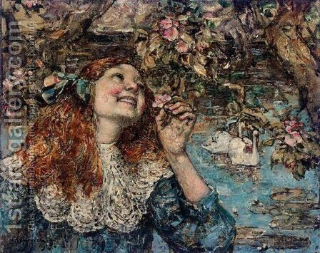 A Young Girl With Swans by Edward Atkinson Hornel - Reproduction Oil Painting