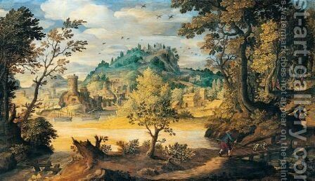 A River Landscape With A Traveller Crossing A Bridge In The Foreground, A Town Beyond by (after) Paul Bril - Reproduction Oil Painting