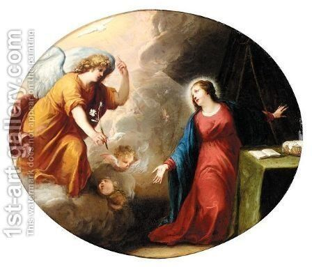 The Annunciation by Antwerp School - Reproduction Oil Painting