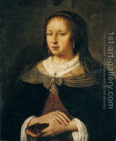 Portrait Of A Lady, Half Length, Wearing Black, Holding A Book by Jan Victors - Reproduction Oil Painting