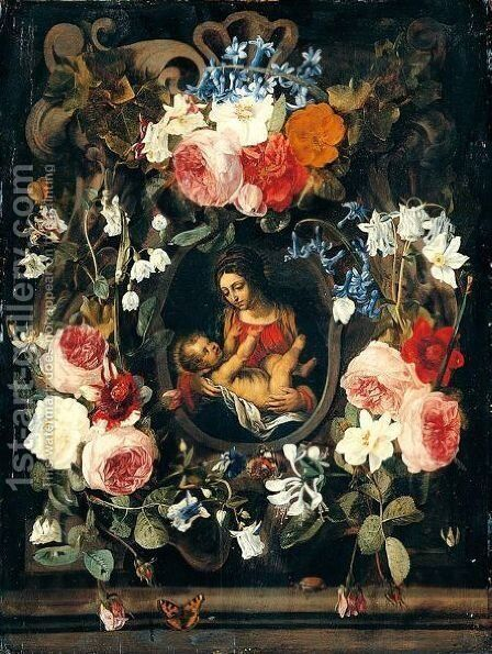 A Still Life Of A Garland Of Flowers With The Virgin And Child Set Within A Stone Cartouche by Christiaan Luyckx - Reproduction Oil Painting