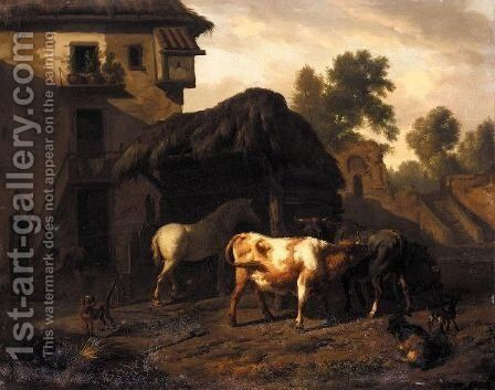 A Farmyard Scene, With Cattle, A Horse And Goats, A Boy Drawing Water From A Well Beyond by Dirk van Bergen - Reproduction Oil Painting