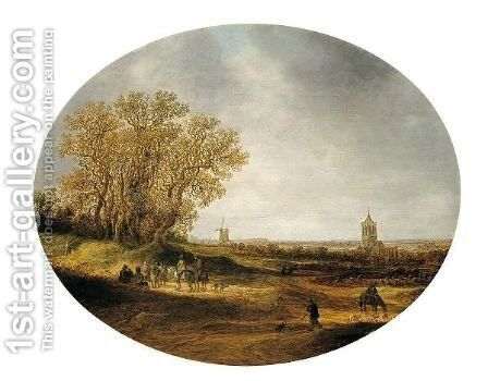 Two Riders And Other Figures On A Road, With A Distant View Of The Church Of Nieder-Elten by Jan van Goyen - Reproduction Oil Painting