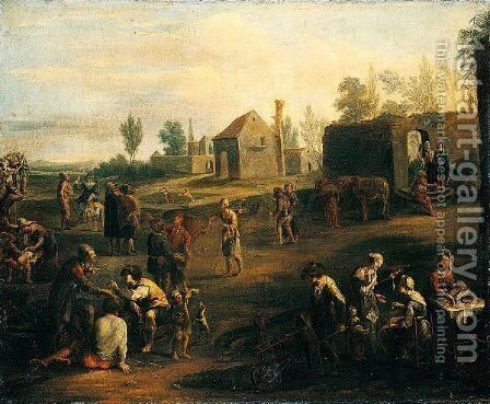 A Market Scene With Peasants Gathered Before The Walls Of A Town by (after) Pietro Domenico Olivero - Reproduction Oil Painting