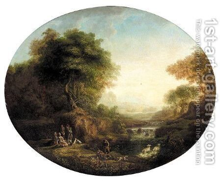 A River Landscape With Huntsmen And Shepherds by (after) Johann Alexander Thiele - Reproduction Oil Painting