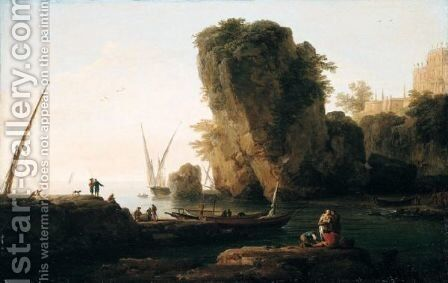A Cove On A Rocky Mediterranean Coast, With Small Vessels And Fishermen by Claude-joseph Vernet - Reproduction Oil Painting
