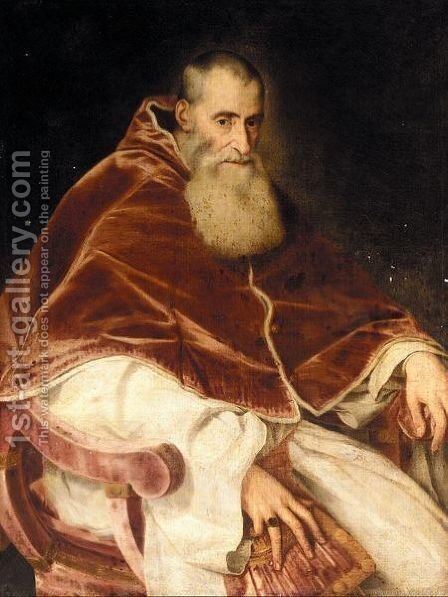 Portrait Of Pope Paul III 2 by (after) Tiziano Vecellio (Titian) - Reproduction Oil Painting