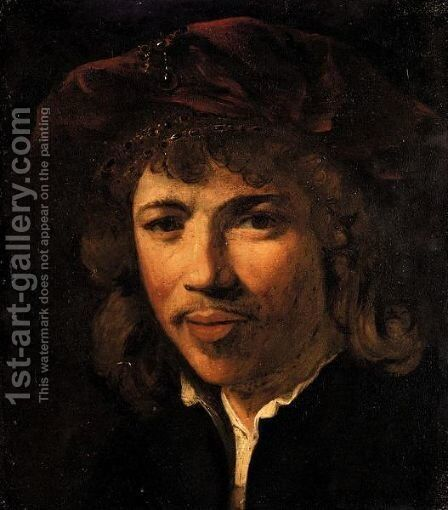 Portrait Of A Gentleman, Head And Shoulders, Wearing A Black Jacket And A Red Cap by (after) Harmenszoon Van Rijn Rembrandt - Reproduction Oil Painting
