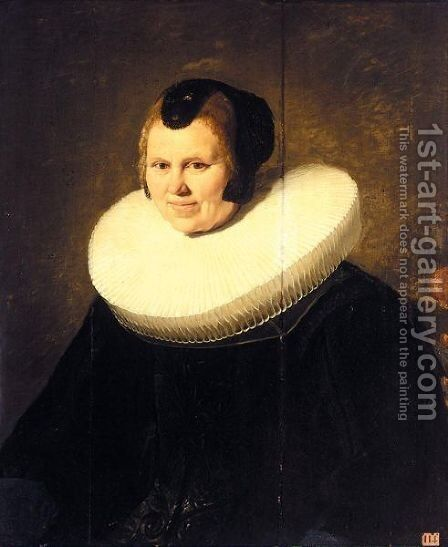 Portrait Of An Elderly Lady, Wearing Black With A Large Ruff, And Black Headress by (after) Dirck Dircksz. Santvoort - Reproduction Oil Painting