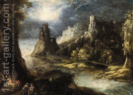 A River Landscape With A Forge, A Hilltop Town Beyond by (after) Frederik Valckenborch - Reproduction Oil Painting