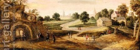 A Landscape With Hermits In A Grotto With Other Figures And A Town Beyond by (after) Joos De Momper - Reproduction Oil Painting