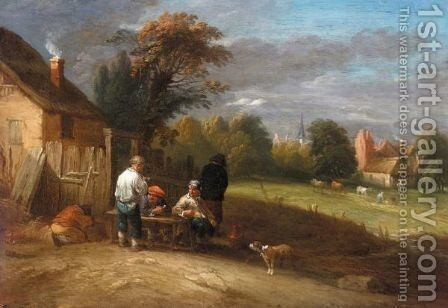A Landscape With Boors Smoking Outside A Cottage, A Village Beyond by (after) Theobald Michau - Reproduction Oil Painting