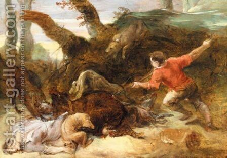 A Boar Hunt - Possibly The Calydonian Boar Hunt by (after) Sir Peter Paul Rubens - Reproduction Oil Painting