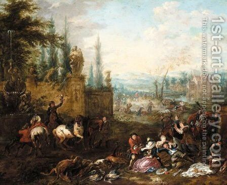 An Elegant Company Resting In A Parkland Landscape by (after) Philips Wouwerman - Reproduction Oil Painting