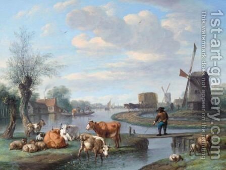An Extensive River Landscape With Windmills And A Ferry Boat by Jan van Doornik - Reproduction Oil Painting