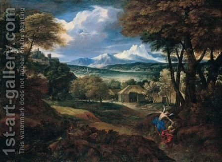 Classical Landscape With Elijah And The Angel by (after) Carlo Antonio Tavella, Il Solfarola - Reproduction Oil Painting