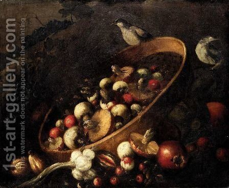 Still Life With A Basket, Mushrooms, Onions, Tomatoes, And Grapes Together With Other Vegetables And Song Birds. by (after) Felice Boselli - Reproduction Oil Painting