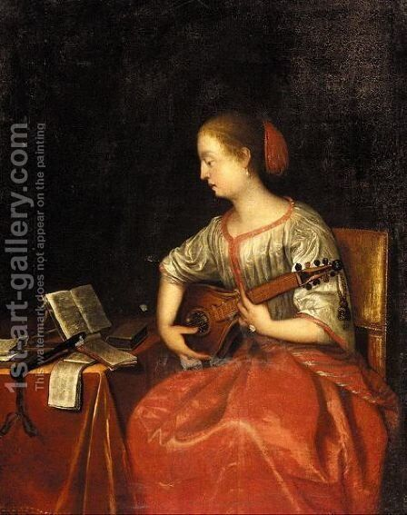 An Interior With A Seated Lady Playing A Cittern by (after) Gabriel Metsu - Reproduction Oil Painting