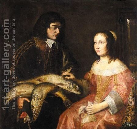 A Cavalier Offering A Seated Young Lady A Plate Of Fish by Dutch School - Reproduction Oil Painting
