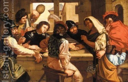 An Interior Of A Tavern With Soldiers And A Fortune Teller by (after) Bartolomeo Manfredi - Reproduction Oil Painting