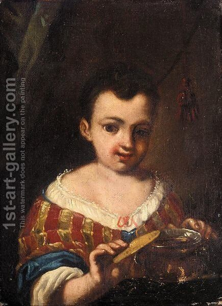 Portrait Of A Young Girl, Half Length, Standing Beside A Table With A Jar by (after) Antonio Amorosi - Reproduction Oil Painting