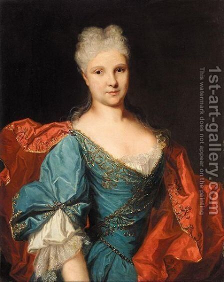 Portrait Of A Lady, Half-Length, Wearing A Blue Embroidered Dress With A Scarlet Mantle by (after) Largilliere, Nicholas de - Reproduction Oil Painting
