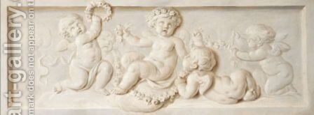 Putti With Garlands Of Flowers by (after) Piat Joseph Sauvage - Reproduction Oil Painting