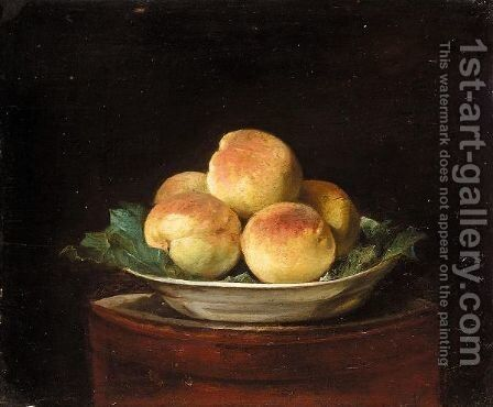 Still Life With Peaches In A Bowl On A Round Table by (after)  Jean-Baptiste-Simeon Chardin - Reproduction Oil Painting