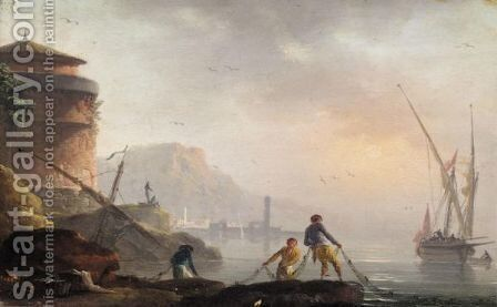 A Mediterranean Coastal Landscape With Fishermen Tending Their Nets by (after)  Claude-Joseph Vernet - Reproduction Oil Painting