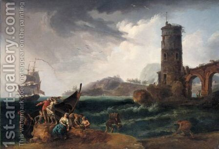 Fishermen Arriving On Shore Before A Storm by (after)  Claude-Joseph Vernet - Reproduction Oil Painting