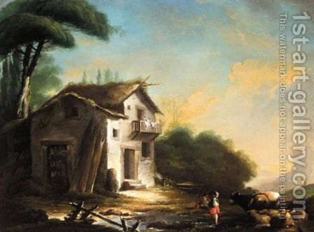 Landscape With Drovers And Animals Before A Cottage by (after) Francois Boucher - Reproduction Oil Painting