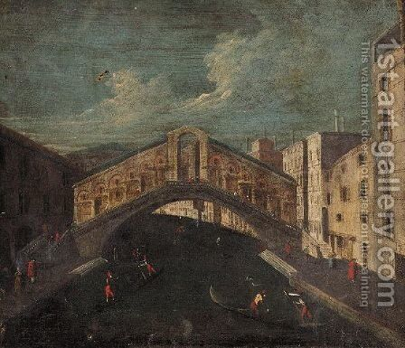 Venice, A View Of The Rialto Bridge by (after) Francesco Albotto - Reproduction Oil Painting