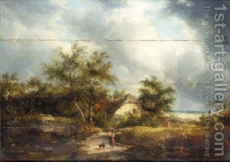 Figures In Front Of A Cottage by (after) Edward Williams - Reproduction Oil Painting