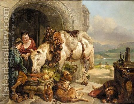 The Reward by (after) Landseer, Sir Edwin - Reproduction Oil Painting