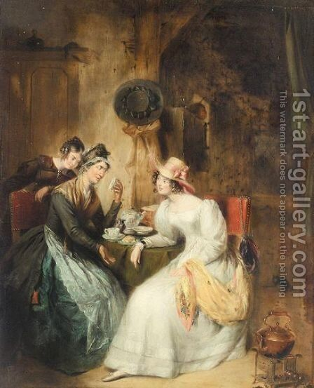Reading The Tea Leaves by (after) George Clint - Reproduction Oil Painting