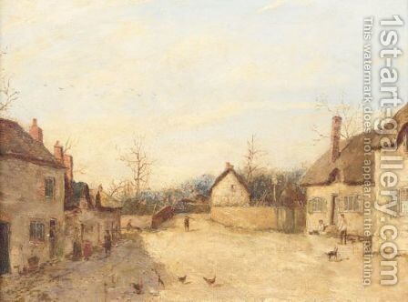 A Village Street by Edward William Cooke - Reproduction Oil Painting