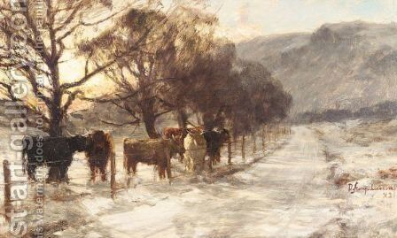 Cattle In Winter by David Farquharson - Reproduction Oil Painting