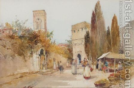 Market Scene, Italy by Archibald Kay - Reproduction Oil Painting