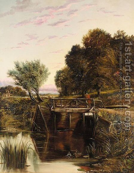 Crossing The Weir by (after) Joseph Thors - Reproduction Oil Painting
