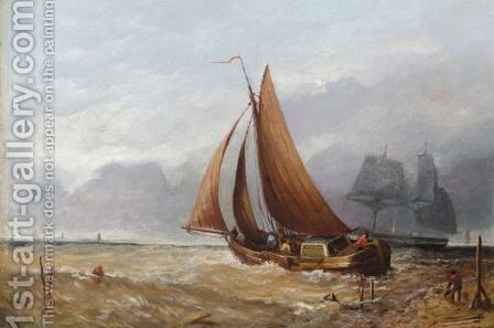 Sailing Boat Off The Beach by Desire Donny - Reproduction Oil Painting