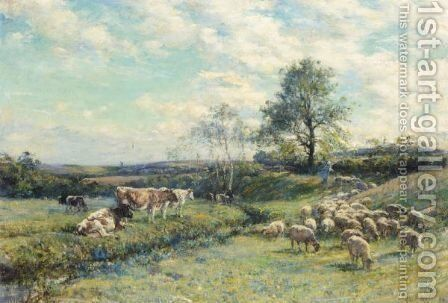 Sheep And Cattle In A Pasture Landscape by Mark Fisher - Reproduction Oil Painting