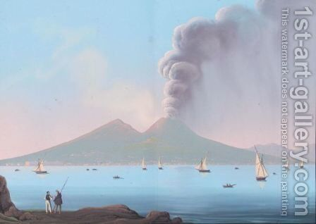 Vesuvius Erupting 2 by Neapolitan School - Reproduction Oil Painting