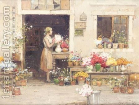 The Flower Seller by Cesare Vianello - Reproduction Oil Painting