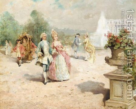 A Walk In The Grounds by (after) Vincente Garcia De Paredes - Reproduction Oil Painting
