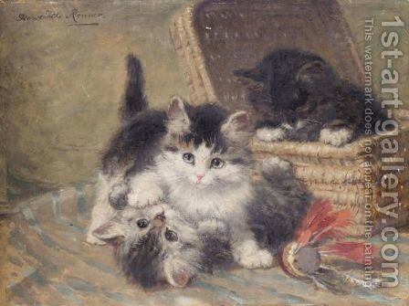 Three Kittens Playing, An Oil Sketch by Henriette Ronner-Knip - Reproduction Oil Painting