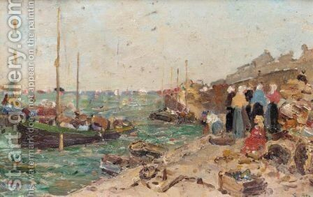 On The Quayside by Edmond Marie Petitjean - Reproduction Oil Painting