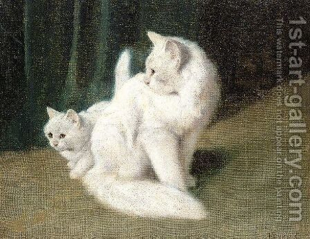 Mother And Kitten by Arthur Heyer - Reproduction Oil Painting