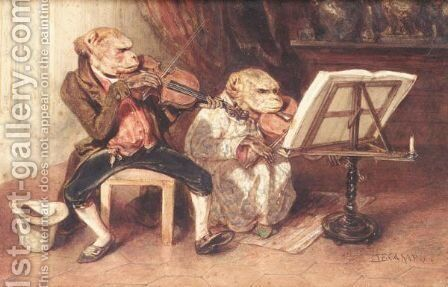 A Monkey Duet by Alexandre Gabriel Decamps - Reproduction Oil Painting