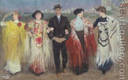 Going To The Fete by Inocencio Medina Vera - Reproduction Oil Painting