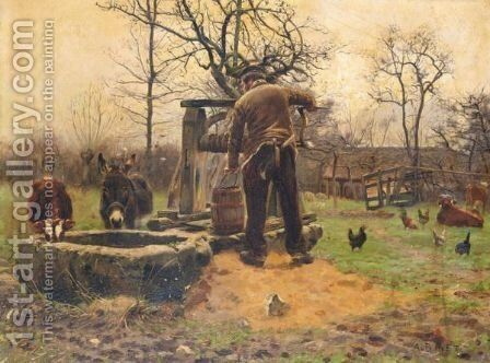 Livestock Around The Well by Adolphe Gustave Binet - Reproduction Oil Painting